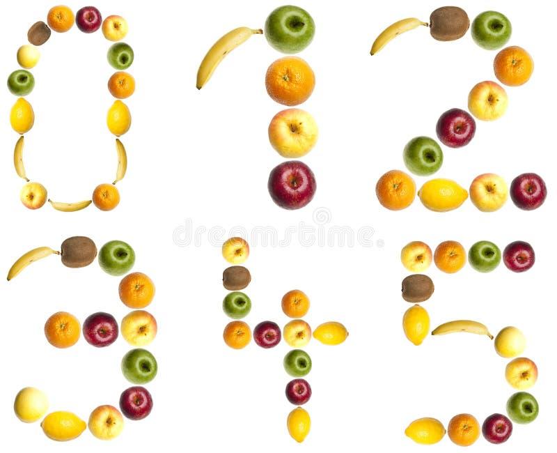 Digits made of fruits. 0 to 5 digits made of fruits stock photography