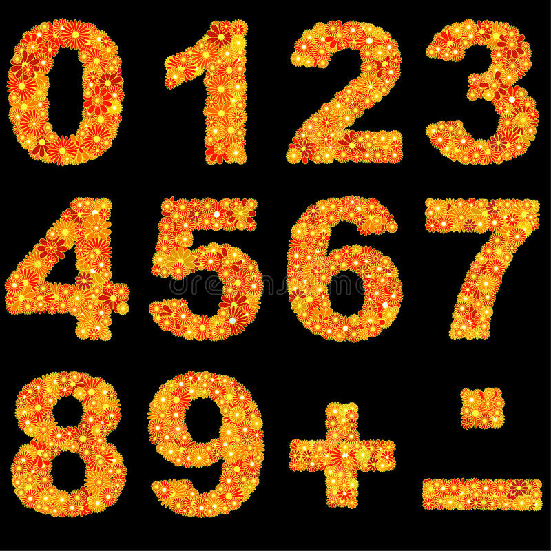Free Digits Made Of Flowers Royalty Free Stock Photo - 12593495