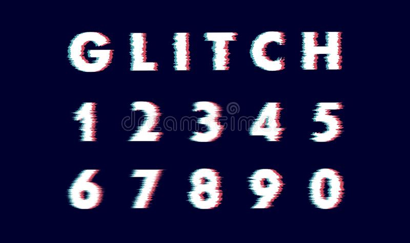 Digits numeral number Vector distorted glitch font. Trendy style lettering typeface letters from 0 to 9. Digits numeral number Vector distorted glitch font stock photos