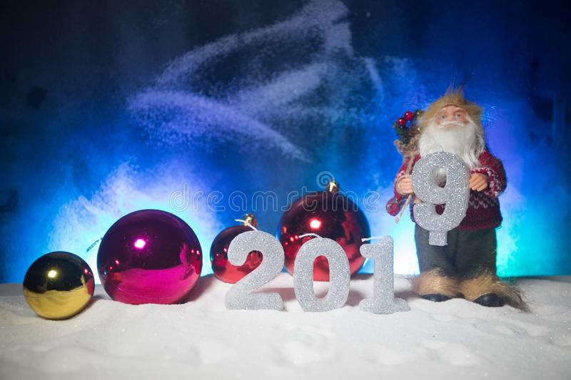 2019 digits on the snow. Happy new 2019-year concept. Empty space for your text. Artwork decorated background stock images