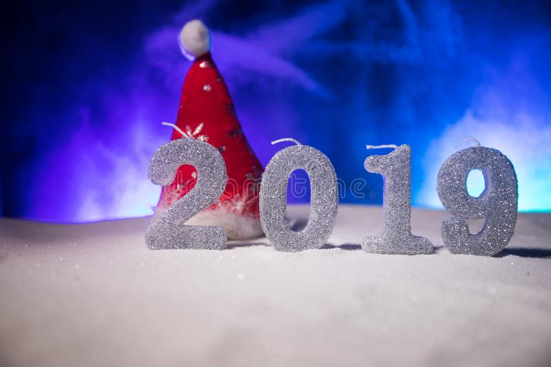 2019 digits on the snow. Happy new 2019-year concept. Empty space for your text. Artwork decorated background royalty free stock photography