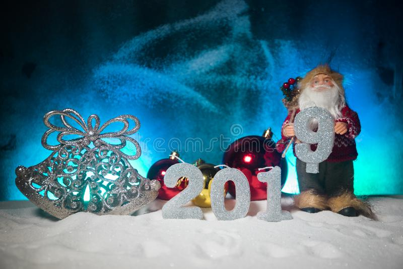 2019 digits on the snow. Happy new 2019-year concept. Empty space for your text. Artwork decorated background stock photos