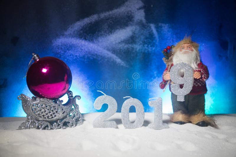 2019 digits on the snow. Happy new 2019-year concept. Empty space for your text. Artwork decorated background royalty free stock image