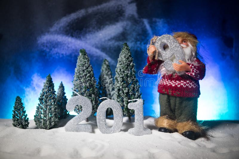 2019 digits on the snow. Happy new 2019-year concept. Empty space for your text. Artwork decorated background royalty free stock images