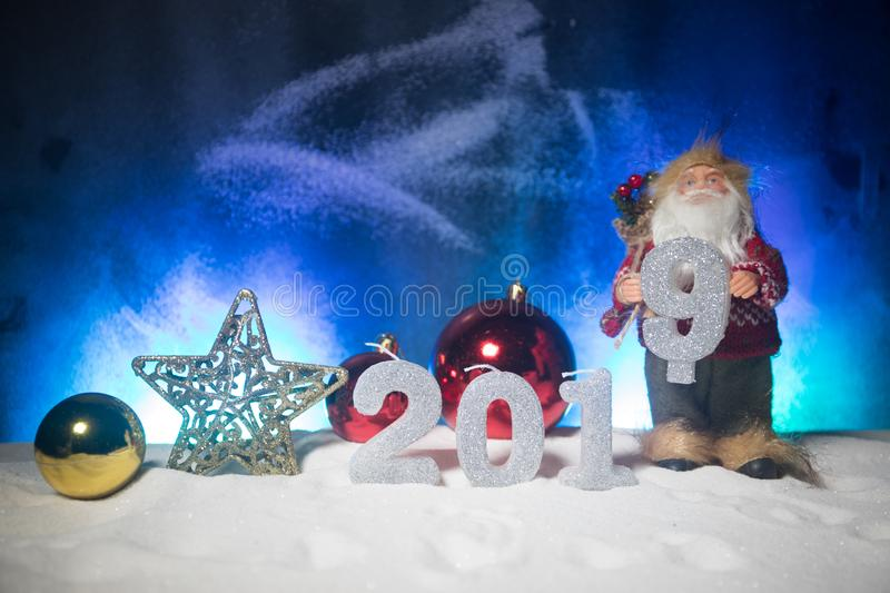 2019 digits on the snow. Happy new 2019-year concept. Empty space for your text. Artwork decorated background stock photo