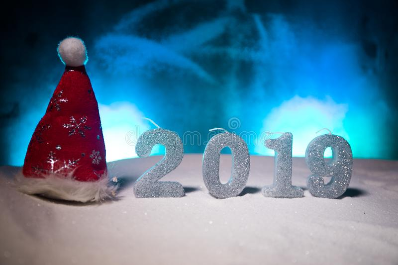 2019 digits on the snow. Happy new 2019-year concept. Empty space for your text. Artwork decorated background stock image