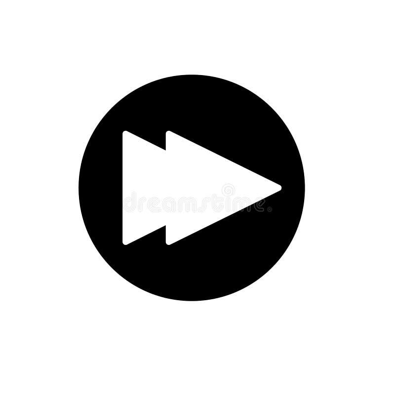 Digiuna il simbolo del segno di vettore isolato illustrazione di andata dell'icona Bottone di Rewind isolato su bianco royalty illustrazione gratis