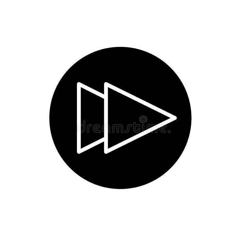 Digiuna il simbolo del segno di vettore isolato illustrazione di andata dell'icona Bottone di Rewind isolato su bianco illustrazione vettoriale