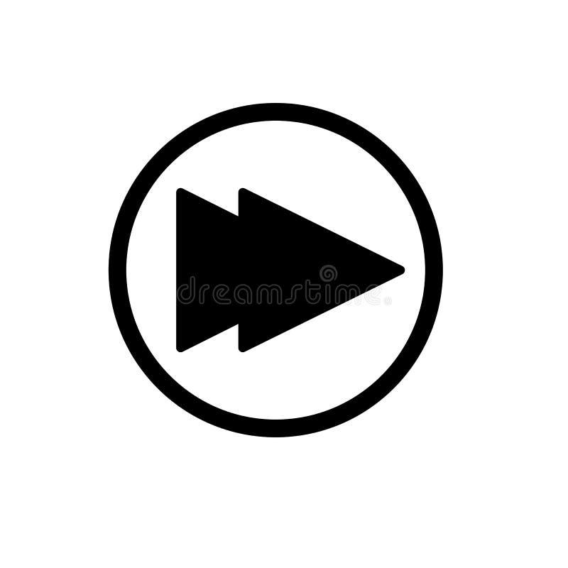 Digiuna il simbolo del segno di vettore isolato illustrazione di andata dell'icona Bottone di Rewind isolato su bianco illustrazione di stock