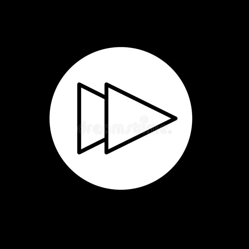 Digiuna il simbolo del segno di vettore isolato illustrazione di andata dell'icona Bottone di Rewind isolato sul nero illustrazione vettoriale