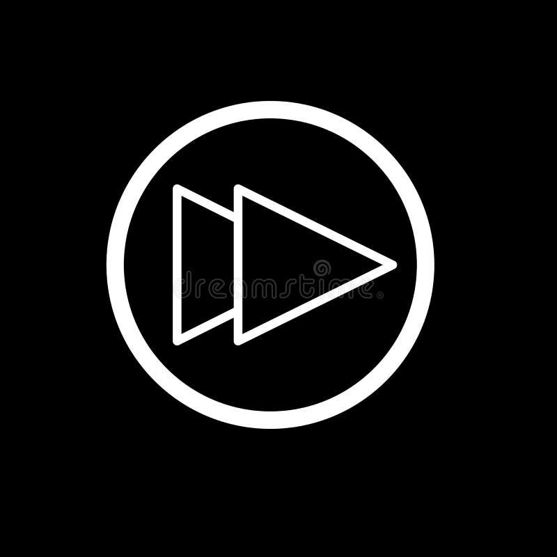 Digiuna il simbolo del segno di vettore isolato illustrazione di andata dell'icona Bottone di Rewind isolato sul nero royalty illustrazione gratis