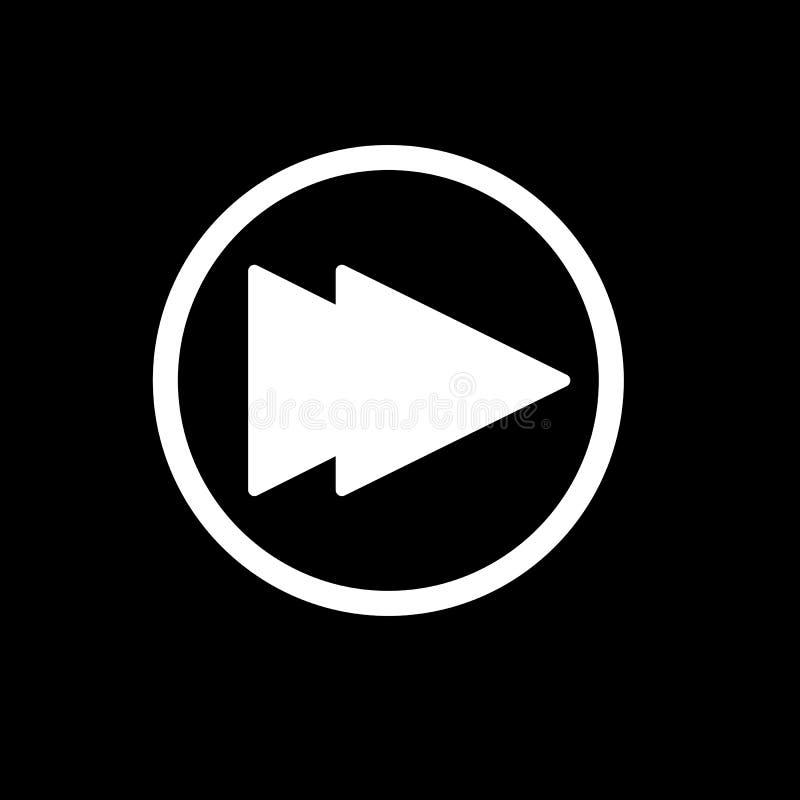 Digiuna il simbolo del segno di vettore isolato illustrazione di andata dell'icona Bottone di Rewind isolato sul nero illustrazione di stock