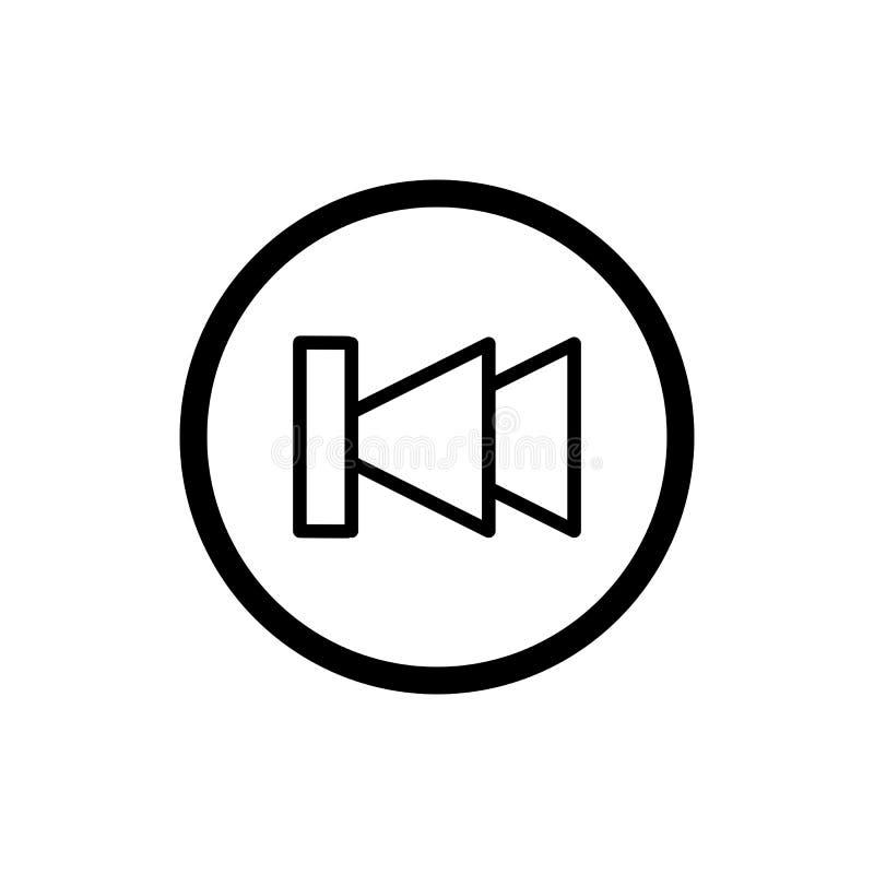 Digiuna indietro l'icona di vettore del lettore multimediale di rewind Icona lineare del profilo isolata su bianco royalty illustrazione gratis