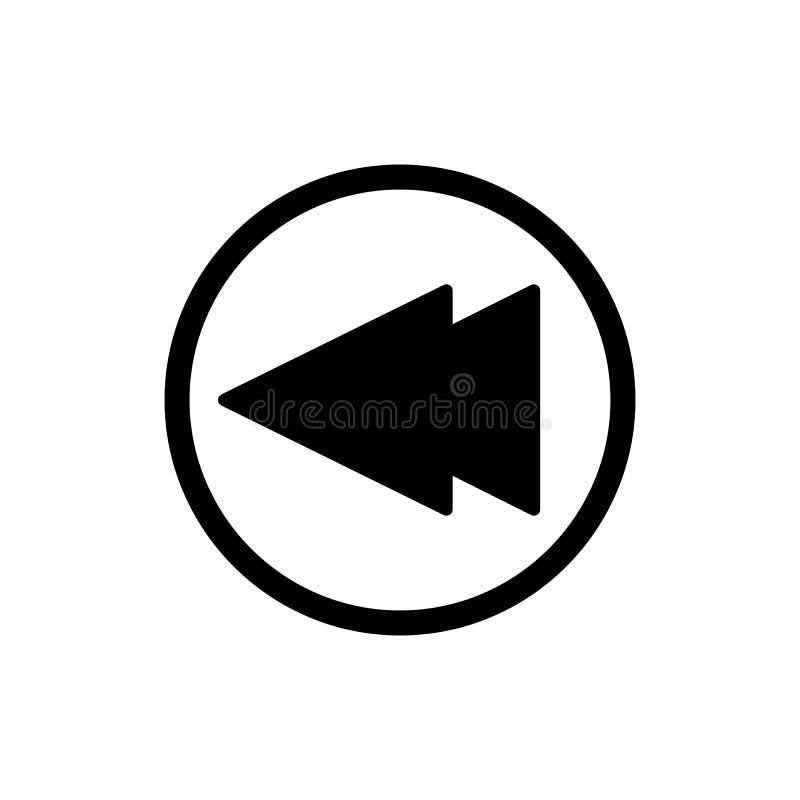 Digiuna indietro l'icona di vettore del lettore multimediale di rewind Icona lineare del profilo isolata su bianco illustrazione di stock