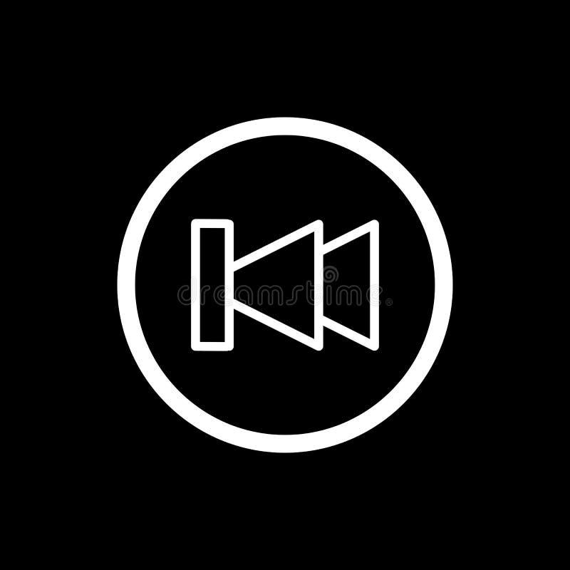 Digiuna indietro l'icona di vettore del lettore multimediale di rewind Icona lineare del profilo isolata sul nero royalty illustrazione gratis