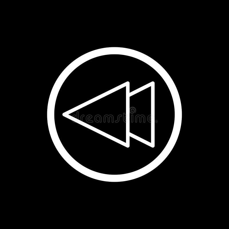 Digiuna indietro l'icona di vettore del lettore multimediale di rewind Icona lineare del profilo isolata sul nero illustrazione di stock