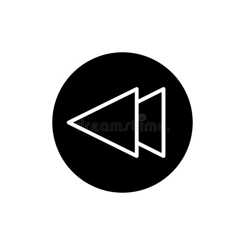 Digiuna indietro l'icona di vettore del lettore multimediale di rewind Icona solida lineare isolata su bianco illustrazione vettoriale