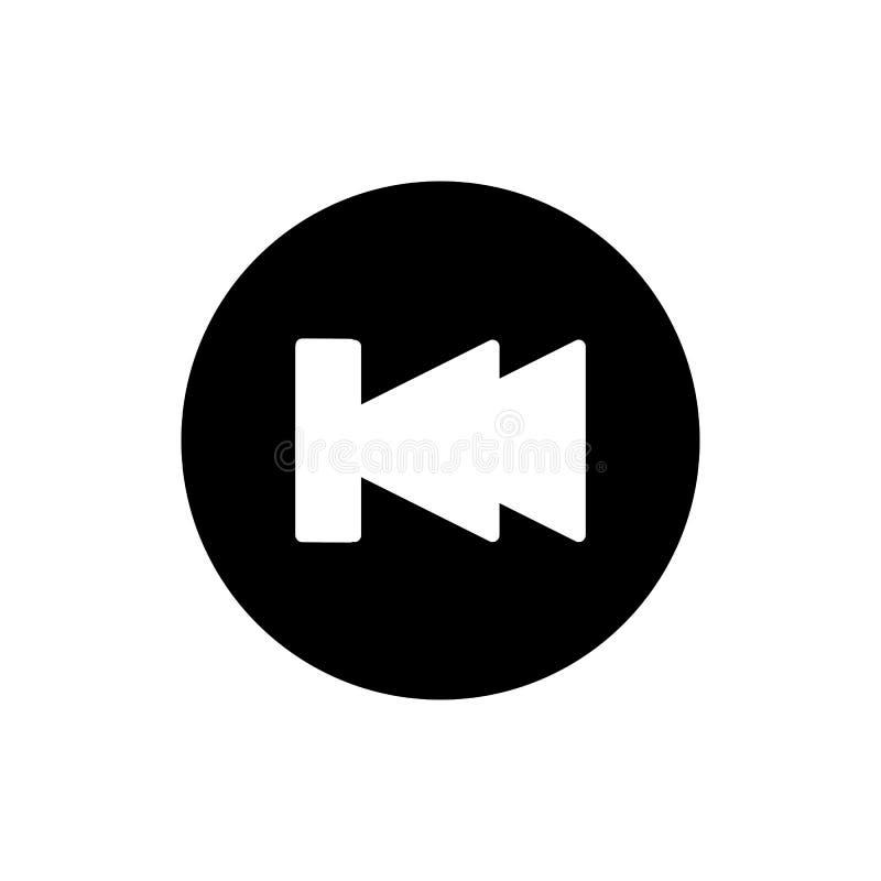 Digiuna indietro l'icona di vettore del lettore multimediale di rewind Icona solida lineare isolata su bianco illustrazione di stock