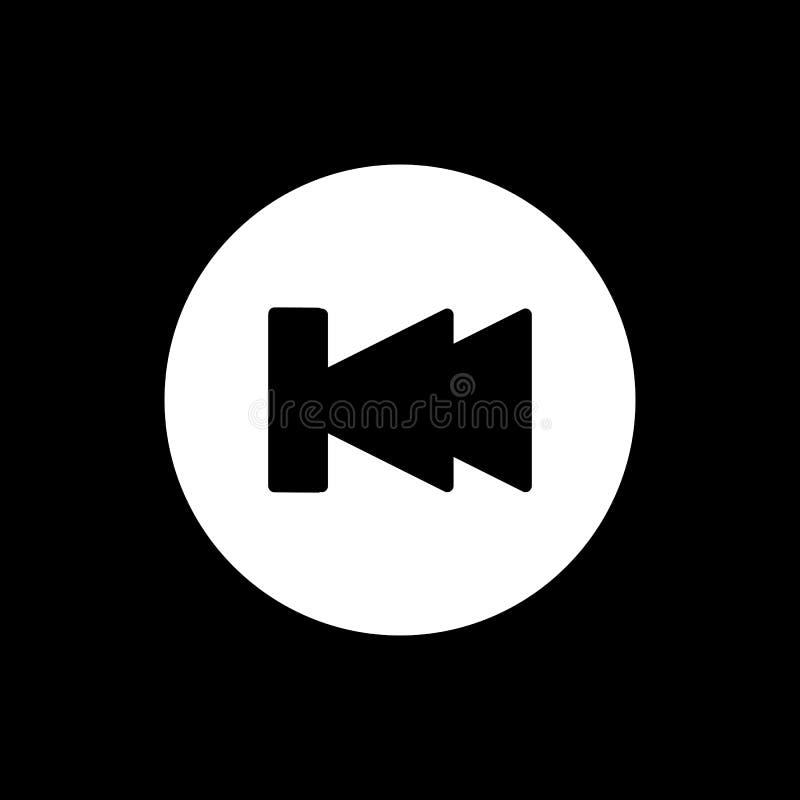 Digiuna indietro l'icona di vettore del lettore multimediale di rewind Icona solida lineare isolata sul nero illustrazione vettoriale