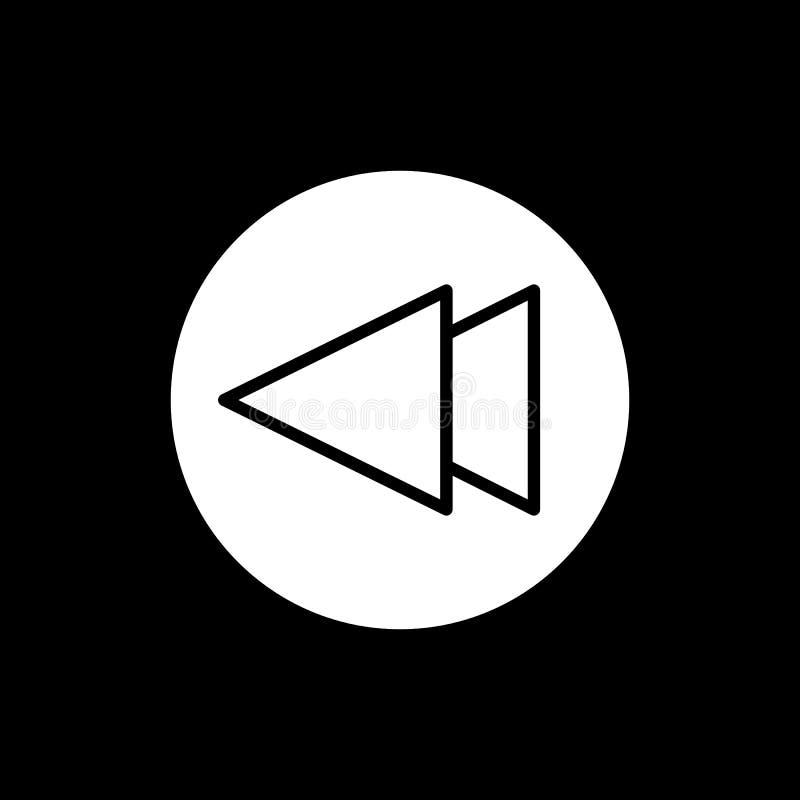 Digiuna indietro l'icona di vettore del lettore multimediale di rewind Icona solida lineare isolata sul nero illustrazione di stock