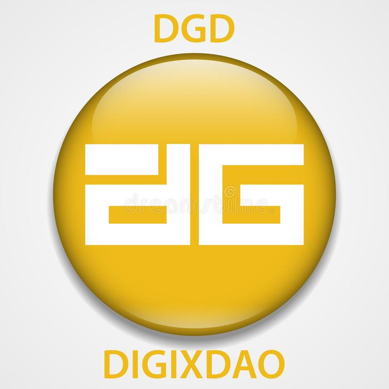 Digixdao Coin cryptocurrency blockchain icon. Virtual electronic, internet money or cryptocoin symbol, logo.  royalty free illustration