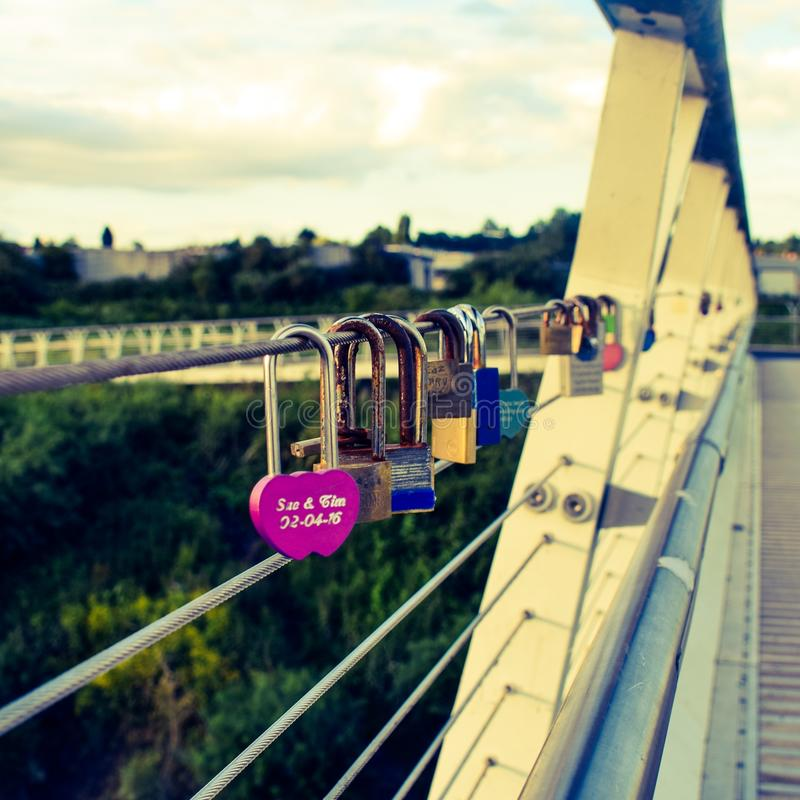 Diglis bridge padlocks royalty free stock photos