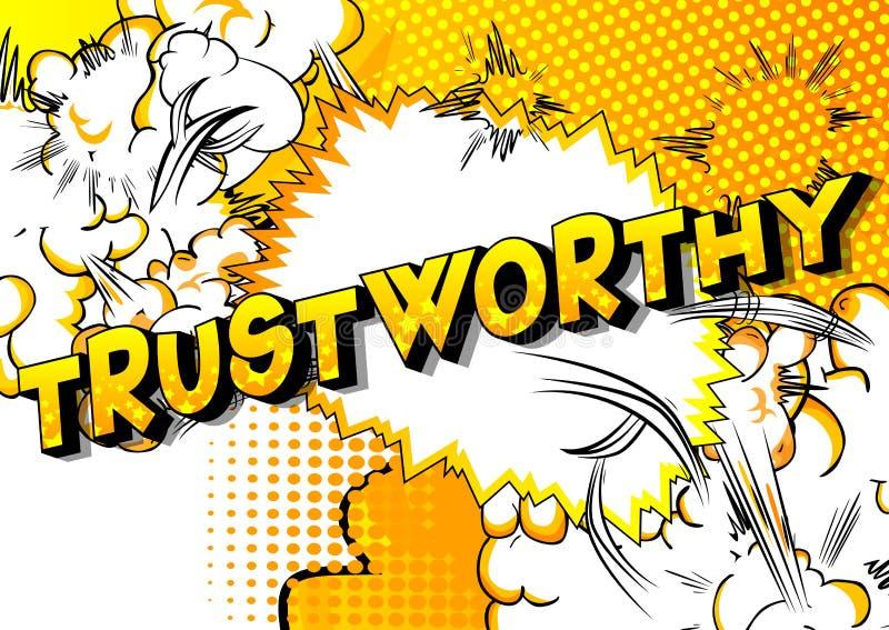 Digne de confiance - expression de style de bande dessinée illustrée par vecteur illustration de vecteur