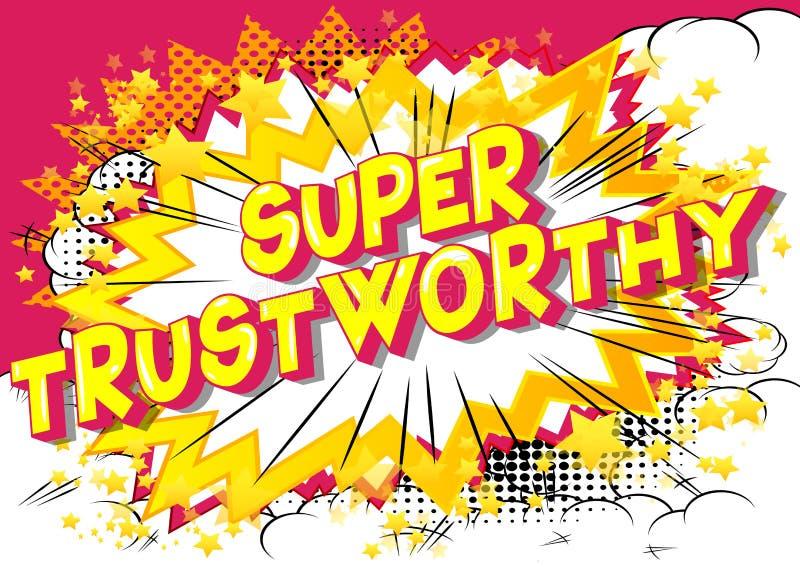 Digne de confiance superbe - expression de style de bande dessinée illustrée par vecteur illustration stock