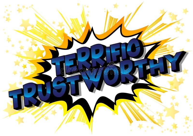 Digne de confiance terrible - expression de style de bande dessinée illustrée par vecteur illustration de vecteur