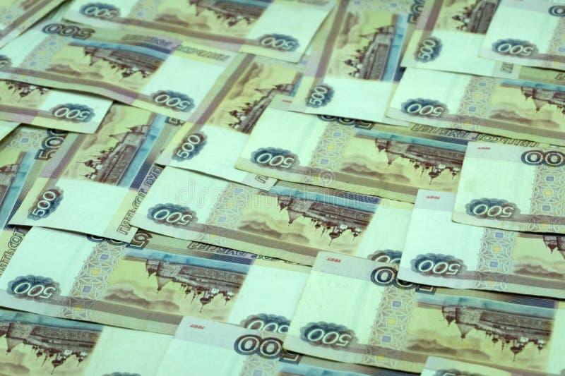Dignidade mil das cédulas do russo do dinheiro, cinco cem rublos de fundo fotografia de stock