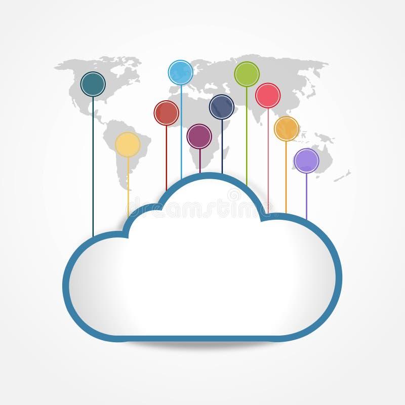 Digtial云彩连接全世界 向量例证