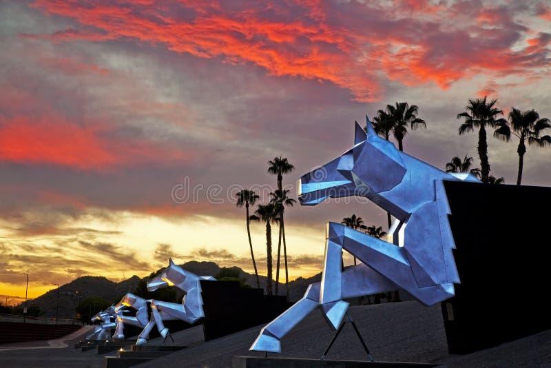 Digue fleurie de lutte contre les inondations à Scottsdale Arizona photos stock