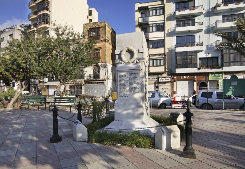 Dijk in Sliema (tas-Sliema) Het eiland van Malta royalty-vrije stock afbeeldingen