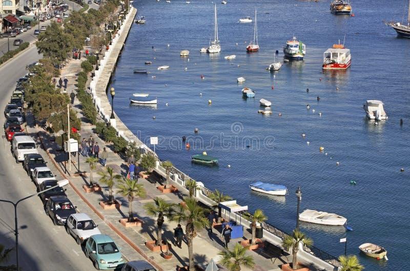 Dijk in Sliema (tas-Sliema) Het eiland van Malta stock fotografie