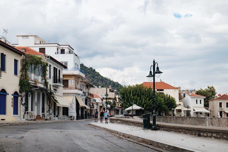 Dijk van de Nafpaktos-stad, West-Griekenland royalty-vrije stock afbeelding