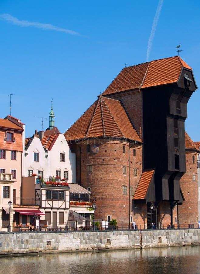 Dijk Van Motlawa Rivier, Gdansk Stock Foto