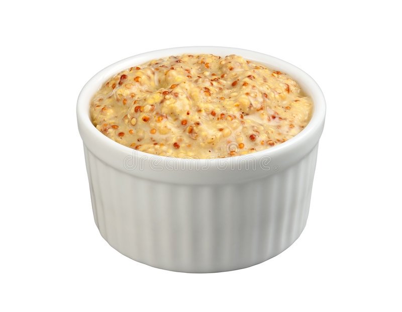 Dijon Mustard (with clipping path). Dijon Mustard in a ramekin with a clipping path isolated on white. Full focus front & back. Isolation is on a transparent stock photos