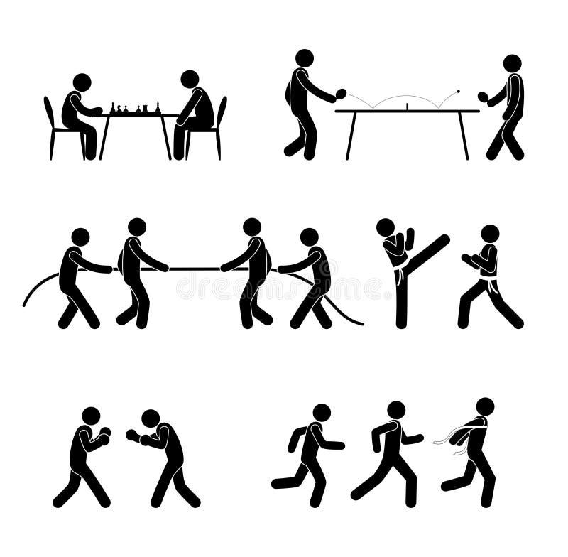 Dik, de de de de normale pictogrammensen, lichaamstypes, mannen en vrouwen, en verdunnen, eenvoudige reeks pictogrammen royalty-vrije illustratie