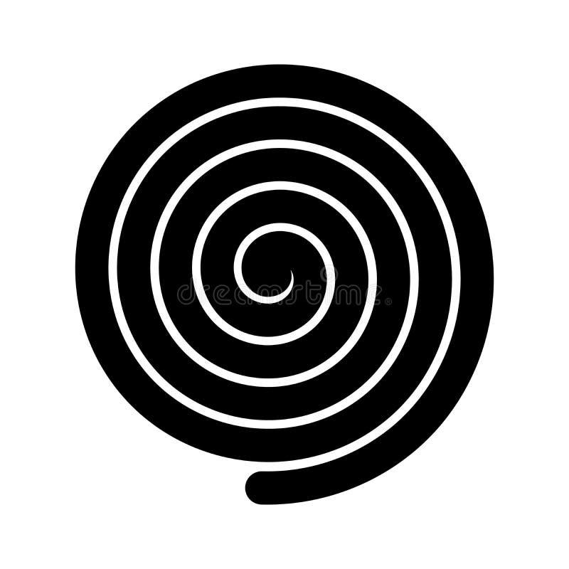 Dik zwart spiraalvormig symbool Eenvoudig vlak vectorontwerpelement vector illustratie