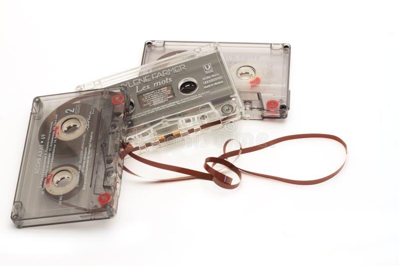DIKANKA, UKRAINE - 26 NOVEMBRE 2015 : Filmez les cassettes de bande utilisées pour l'enregistrement et le playback de la musique images libres de droits