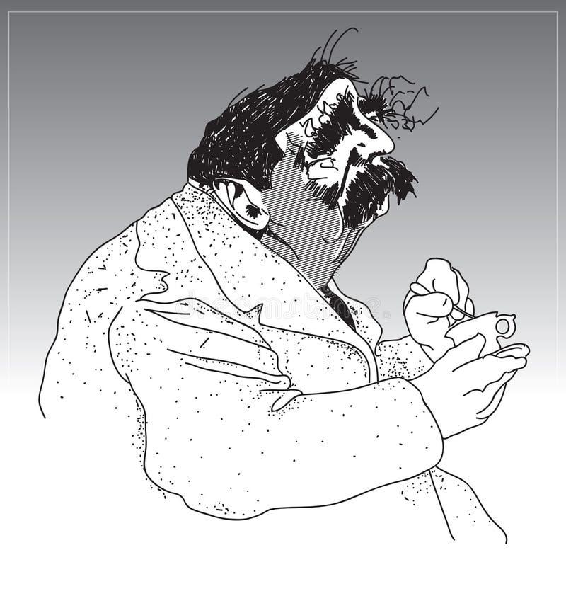 Dikbuikige mens op middelbare leeftijd royalty-vrije illustratie