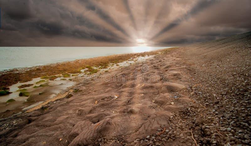 Dike моря на гавани Harlingen стоковые изображения rf