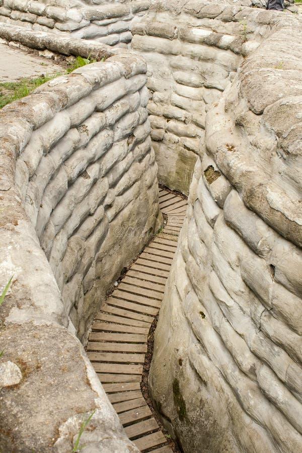 Dike för sandsäckvärldskrig 1 av död Flanders Belgien arkivbild