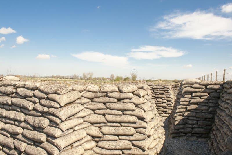 Dike för sandsäckvärldskrig 1 av död Flanders Belgien royaltyfri foto