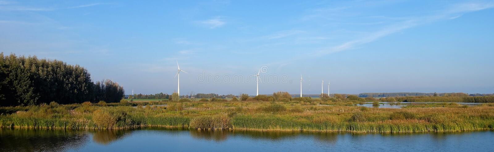 Polder water landscape in Flevoland. The landscape of Zeewolde Flevoland contains the dike, open space, water and nature behind the dike, the sky, trees and royalty free stock images