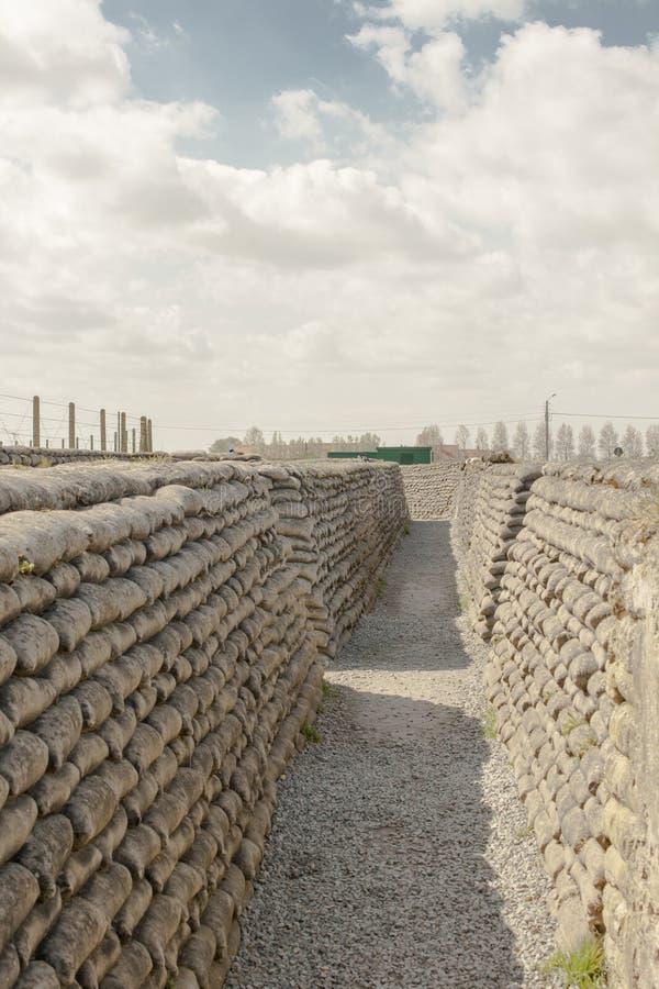 Dikena av sandsäckar för dödvärldskrig ett i Belgien arkivfoton