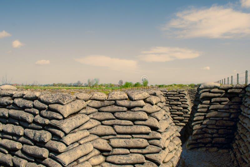 Dikena av sandsäckar för världskrig ett i Belgien royaltyfria bilder
