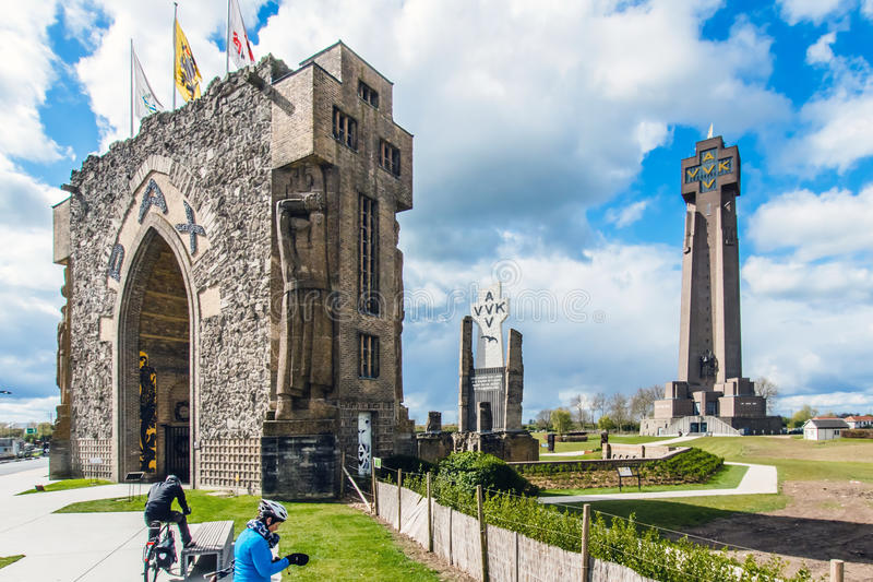 Diksmuide, Flanders, Belgium,. The Paxpoort and the Iron Tower in Diksmuide, Flanders, Belgium. The complex is a monument to peace and was established to royalty free stock images