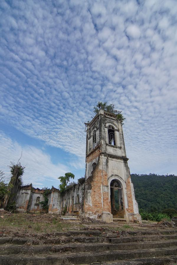 Dilapidated Church of the Sacred Heart of Jesus. stock photography