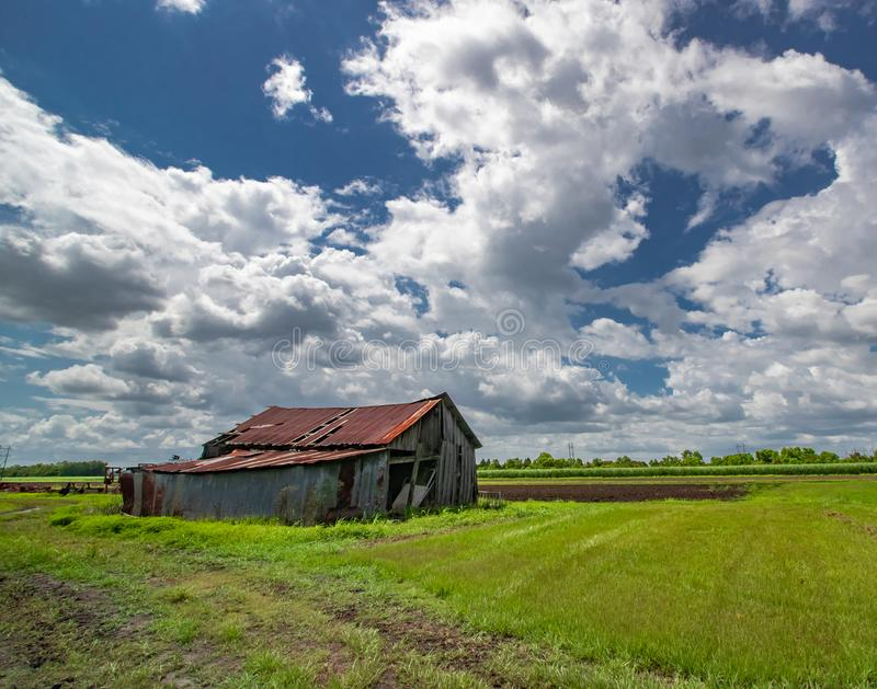 Wide Angle Field and Barn stock photos